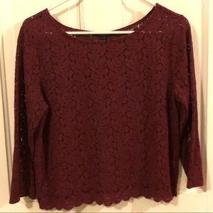 Ambiance Burgundy red lace long sleeve top, EUC